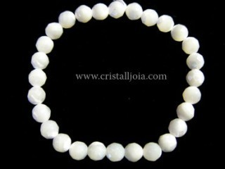 Pulsera Nacar Blanco Bola Facetada 6mm