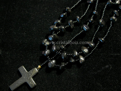 Black onyx tumbled rosary