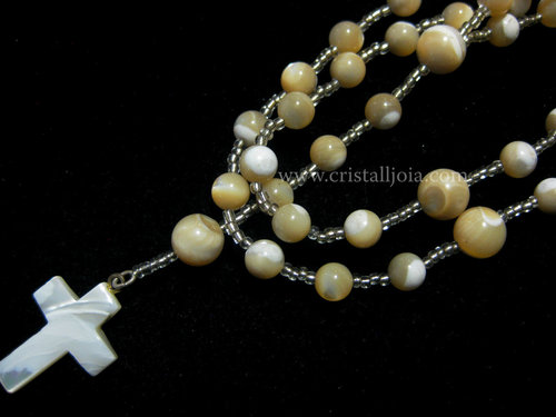 Mother of pearl ball rosary