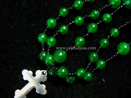 Green agate ball rosary