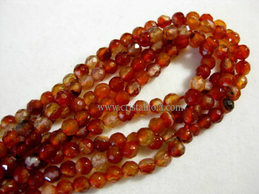 cornelian 4mm faceted ball strands
