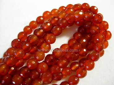 cornelian 6mm faceted ball strands