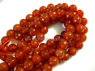 cornelian 8mm faceted ball beads strands