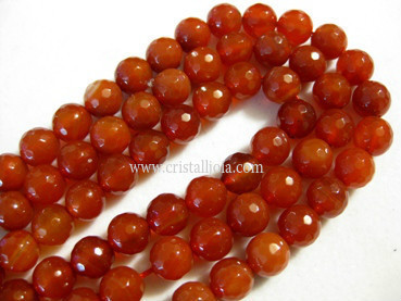 Cornelian 10mm faceted ball bead strands