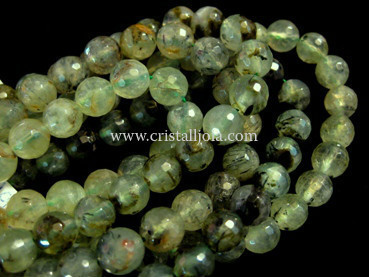 Prehnite 8mm faceted ball beads strands