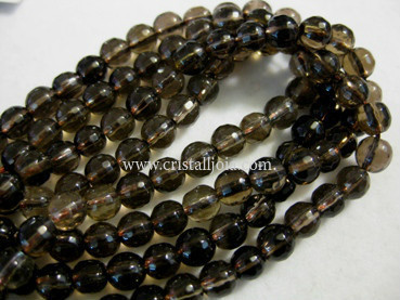 smoked quartz 6mm faceted ball strands