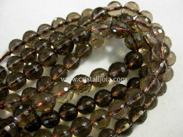 smoked quartz 8mm faceted ball beads strands