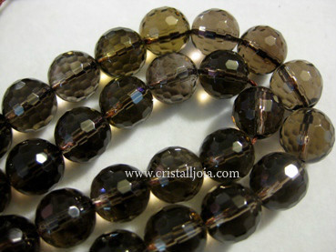 smoked quartz 12mm faceted ball strands