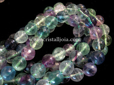 Fluorite 10mm faceted ball bead strands