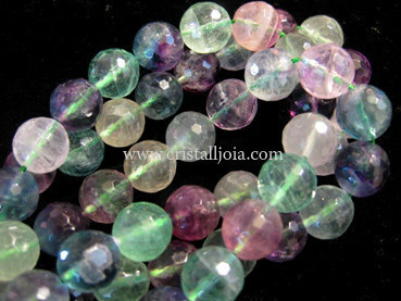fluorite 12mm faceted ball strands