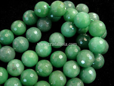 green aventurine 12mm faceted ball strands