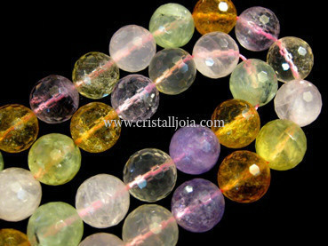 Quartz varied 14mm faceted ball strands