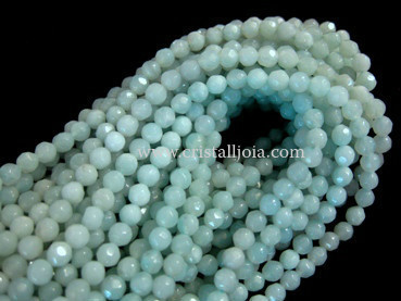 Amazonite 4mm faceted ball strands