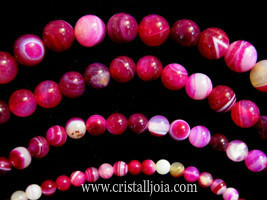 Pink Banded 4mm Round Agate Beads