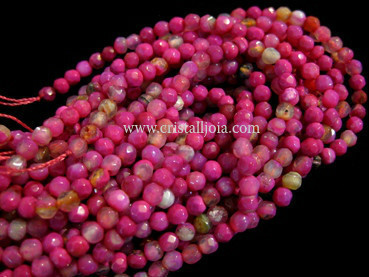 Fuchsia listed agate 4mm faceted ball strands