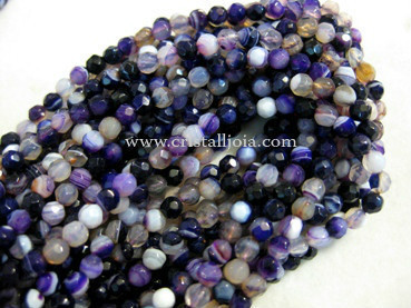 Lilac listed agate 4mm faceted ball strands