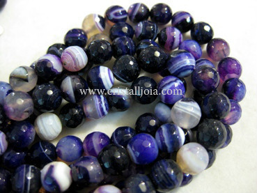 Lilac listed agate 8mm faceted ball beads strands