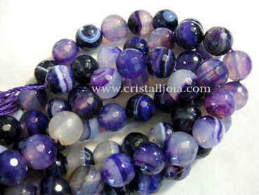 Lilac listed agate 10mm faceted ball bead strands