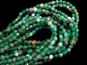 Green striped agate 4mm faceted ball strands