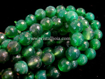 Green agate 10mm faceted ball bead strands