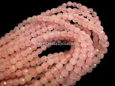 Pink quartz 4mm faceted ball strands