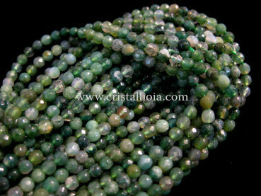 moss agate 3mm faceted ball strands