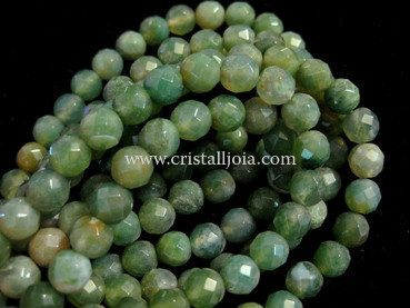 moss agate 8mm faceted ball beads strands