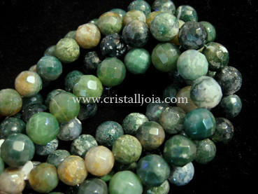 moss agate 10mm faceted ball bead strands