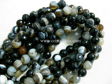 Black listed agate 6mm faceted ball strands