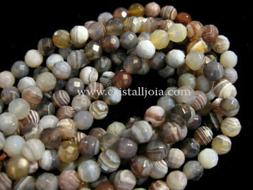 Botswana agate 6mm faceted ball strands