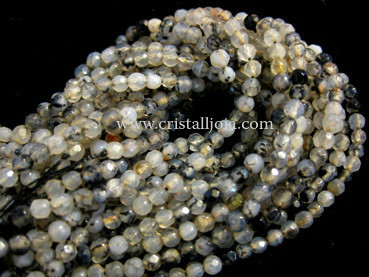 Spider agate 4mm faceted ball strands