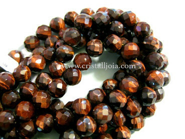Bull's eye 8mm faceted ball beads strands