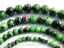 Zoisite With Ruby Beads