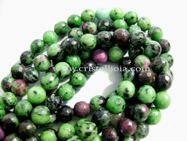 Zoisite with ruby 8mm faceted ball beads strands