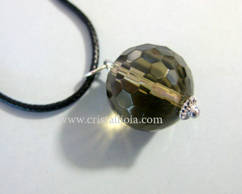 Smoky Quartz ball Pendant Faceted 17mm