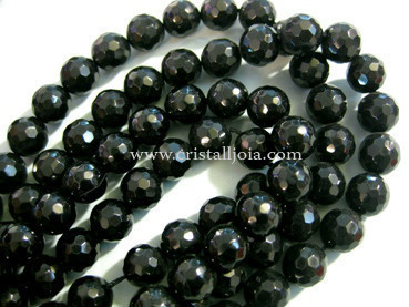 Black onyx 10mm faceted ball bead strands