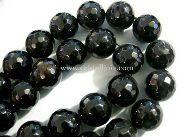 Black onyx 14mm faceted ball strands