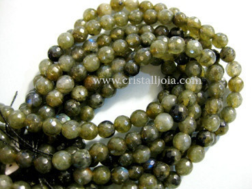 labradorite 6mm faceted ball strands