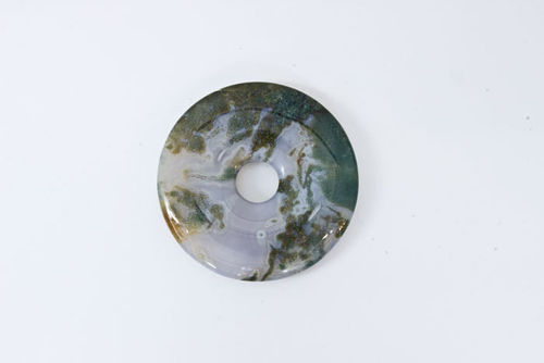 Moss Agate Donut  Size 30Mm