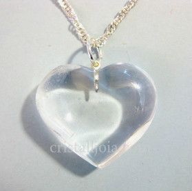 QUARTZ ROCK CRYSTAL HEART PENDANT 25X30mm