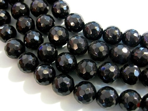 Black onyx 12mm faceted ball strands