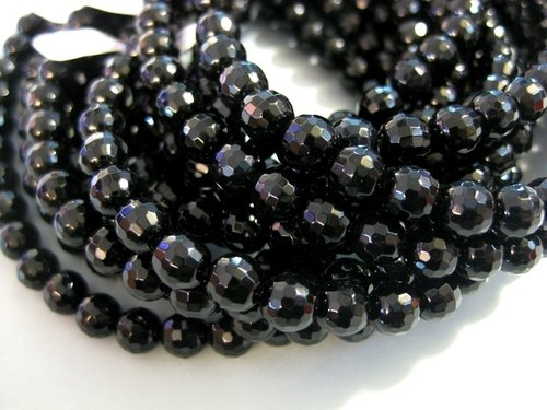 Black onyx 8mm faceted ball beads strands
