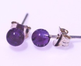 Amethyst ball 4mm silver earring
