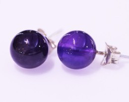 Amethyst ball 8mm silver earring