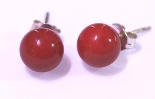 Coral Bamboo Ball Earrings 8Mm