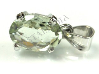 Green Amethyst (Prasiolite) Silver Faceted Pendant