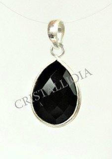 Onix Black Silver Faceted Oval Pendant