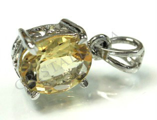 Citrine Extra Silver Faceted Pendant
