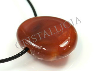 Carnelian Pendant Round Oval With Hole
