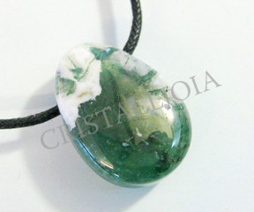 Moss Agate Pendant Round Oval With Hole